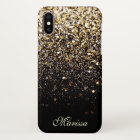 Stylish Gold Glitter Chic Black Best Beautiful iPhone X Case