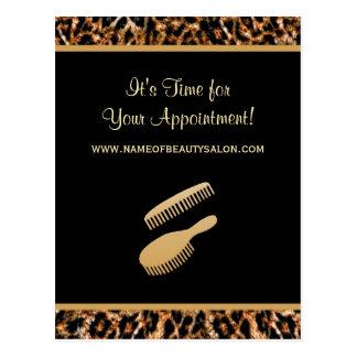 Stylish Gold Leopard Salon Appointment Reminder Postcard