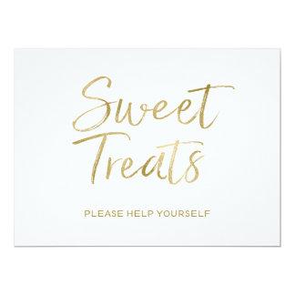 "Stylish Gold Lettered ""Sweet Treats"" Sign 17 Cm X 22 Cm Invitation Card"