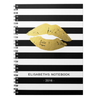 Stylish Gold Lips with Classic Black White Stripes Spiral Notebook