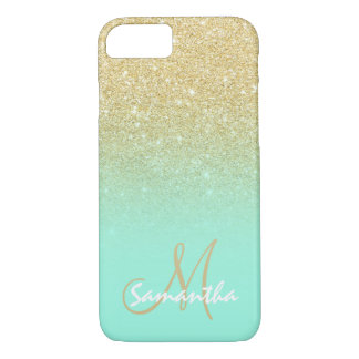 Stylish gold ombre mint green block personalized iPhone 7 case