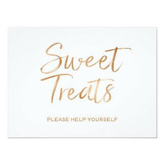 "Stylish Gold Rose Lettered ""Sweet Treats"" Sign 17 Cm X 22 Cm Invitation Card"