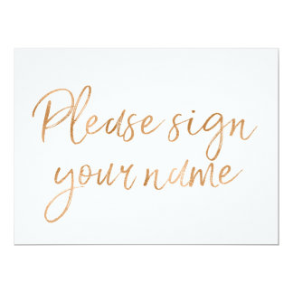 """Stylish Gold Rose """"Please sign your name"""" Sign Card"""