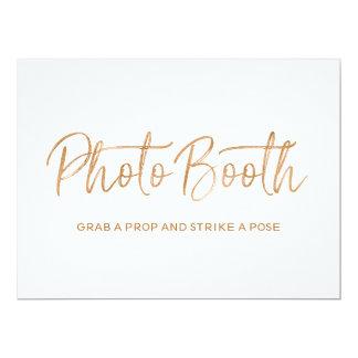 "Stylish Gold Rose Wedding ""Photo booth"" Sign Card"