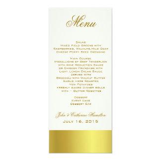 Stylish Gold Tone Skinny Wedding Table Menu 4x9.25 Paper Invitation Card