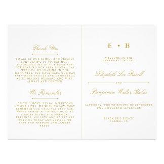 Stylish Gold & White Wedding Program Template Flyer