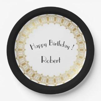 Stylish-Gothic_Birthday_Medieval-Gold-Shield- Paper Plate