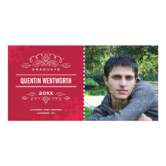 STYLISH GRAD PHOTOCARD modern graduate card red Picture Card
