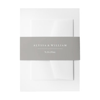 Stylish Gray and White Wedding Invitation Belly Band