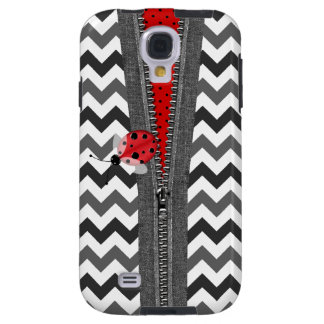 Stylish Gray Chevron Zipper & Ladybug Galaxy S4 Case