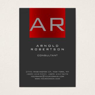 Stylish Gray Red Trendy Monogram Business Card