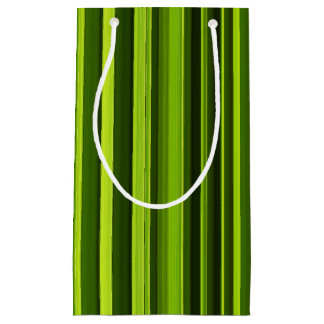 Stylish Green and Black Striped Pattern Small Gift Bag