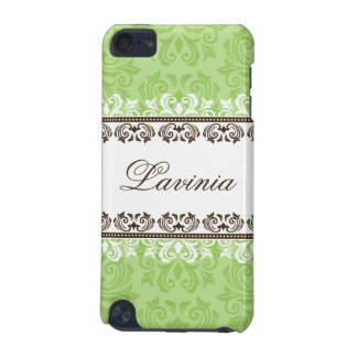 Stylish green brown lace damask ipod touch case
