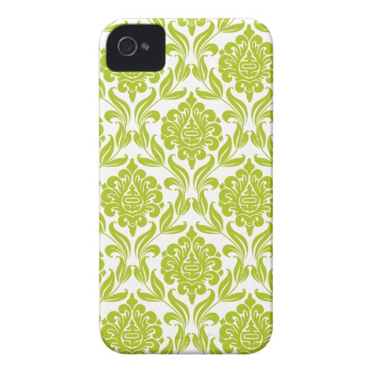 Stylish Green Damask Pattern iPhone 4 Case-Mate Cases