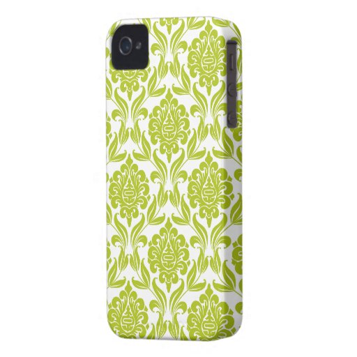 Stylish Green Damask Pattern iPhone 4 Case-Mate Cases