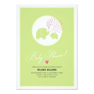 Stylish Green Elephants Baby Shower Invitation