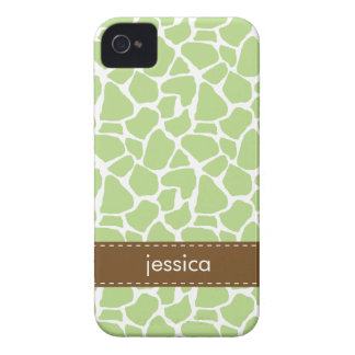 Stylish Green Giraffe Pattern iPhone 4 Case