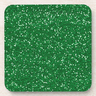 Stylish Green Glitter Drink Coaster