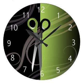 stylish green hair salon clock