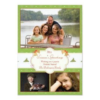 Stylish green holly 3 photo Christmas holiday card 13 Cm X 18 Cm Invitation Card