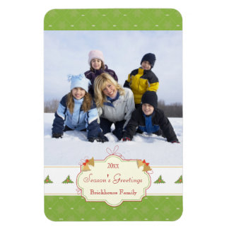 Stylish green holly Christmas holiday photo magnet