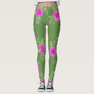 Stylish Green Leggings With Pink Flower Print