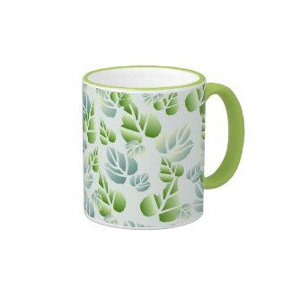 Stylish Green Stencilled Leaf Pattern Ringer Mug