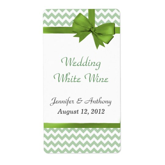 Stylish Green & White Chevron Wedding Wine Labels