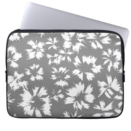Stylish Grey and White Floral Pattern. Laptop Sleeve