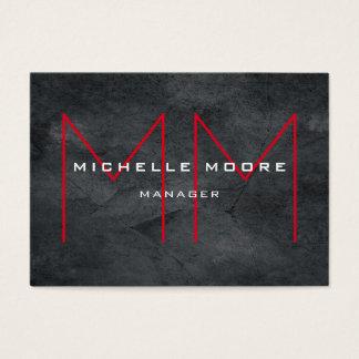 Stylish Grey Huge Red Monogram Modern Business Card