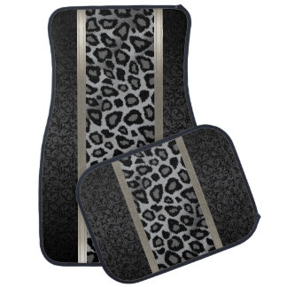 Stylish Grey Leopard Animal Print Pattern | Damask Car Mat