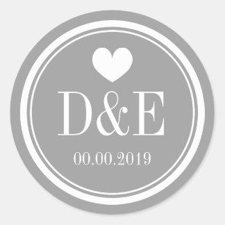 Stylish grey name monogram wedding favour stickers