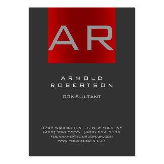 Stylish Grey Red Trendy Monogram Business Card