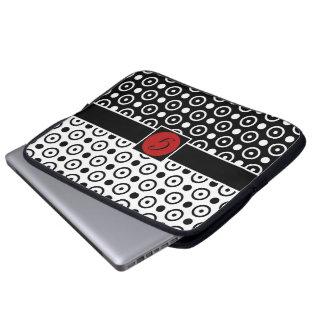 Stylish Half Black Half White polka dots Laptop Sleeve