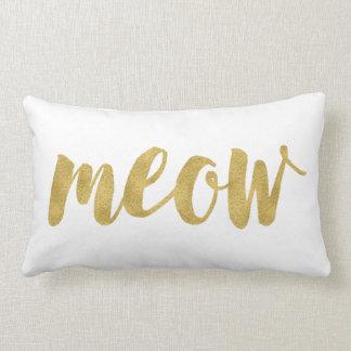 Stylish Hand Lettered Meow Kitty Cat Decorative Lumbar Cushion