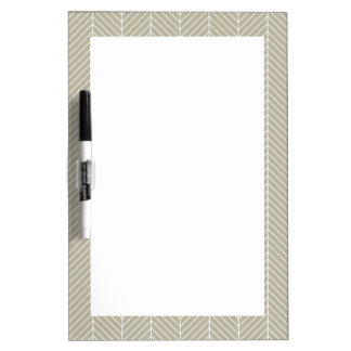 Stylish Herringbone Chevrons Pattern in Beige Dry Erase Board