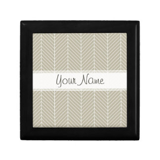 Stylish Herringbone Chevrons Pattern in Beige Small Square Gift Box