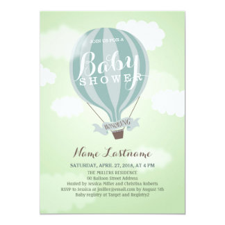 Stylish Hot Air Balloon Boy Baby Shower Invite