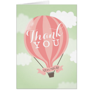 Stylish Hot Air Pink Balloon Thank You Note Card
