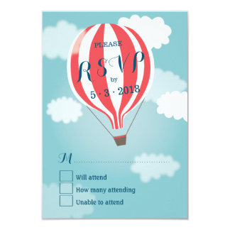 Stylish Hot Air Red White Balloon RSVP Card