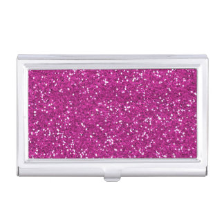 Stylish Hot Pink Glitter Business Card Cases