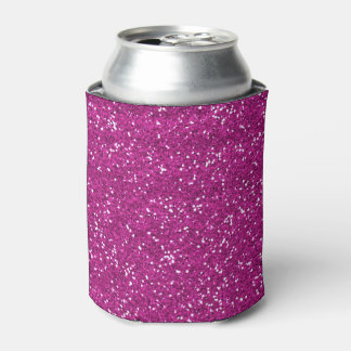 Stylish Hot Pink Glitter Can Cooler