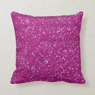 Stylish Hot Pink Glitter Throw Pillow