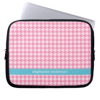 Stylish Hot Pink Houndstooth Pattern Laptop Sleeve