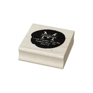 Stylish Ink Splatter Custom Monogram Rubber Stamp
