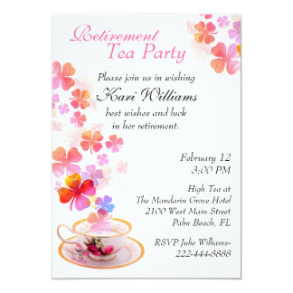 Stylish Ladies Retirement Tea Party Invitation