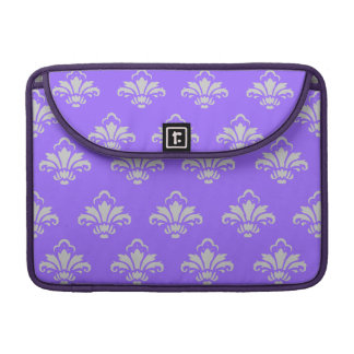 Stylish Lavender and Silver Damask Pattern Sleeves For MacBook Pro