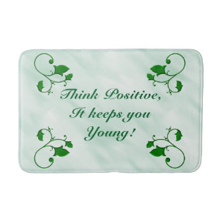 Stylish Leaves Think Positive It Keeps You Young Bath Mat