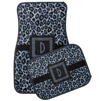 Stylish Leopard Animal Print Pattern | Blue Car Mat