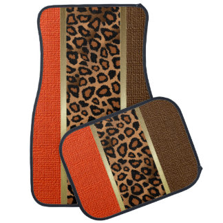 Stylish Leopard Animal Print Pattern | Orange Car Mat